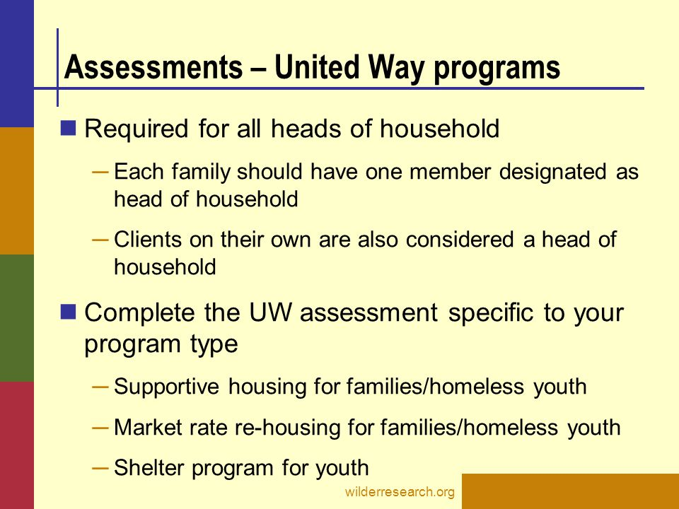 Assessments – United Way programs