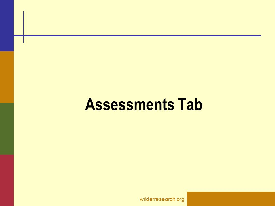 Assessments Tab wilderresearch.org