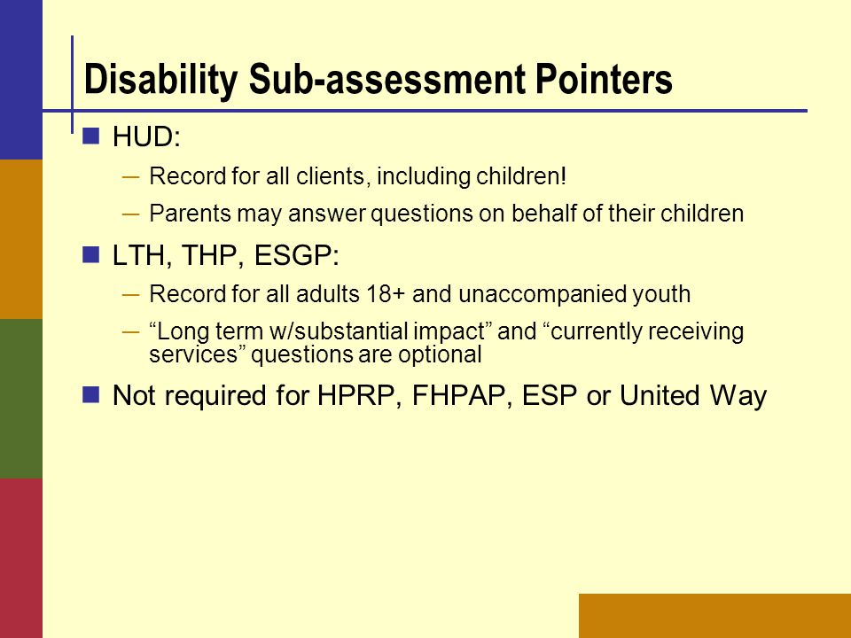 Disability Sub-assessment Pointers