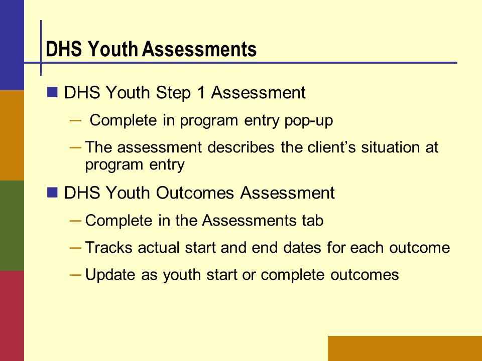 DHS Youth Assessments DHS Youth Step 1 Assessment