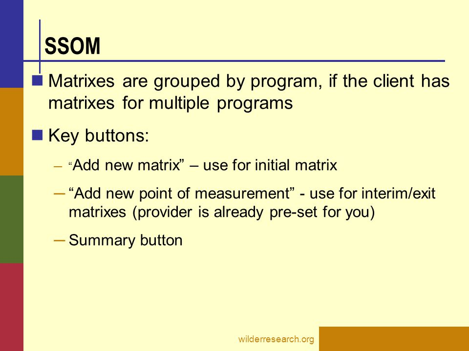 SSOM Matrixes are grouped by program, if the client has matrixes for multiple programs. Key buttons: