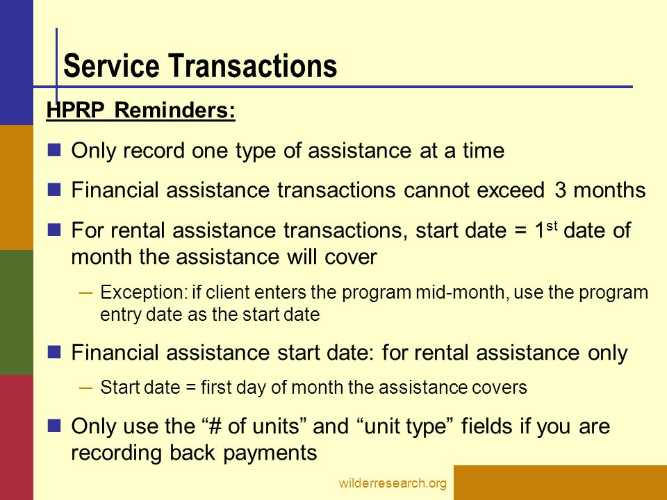 Service Transactions HPRP Reminders: