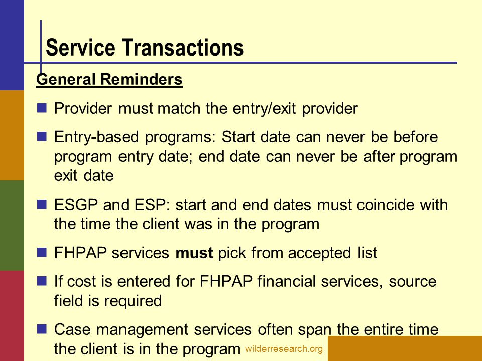 Service Transactions General Reminders
