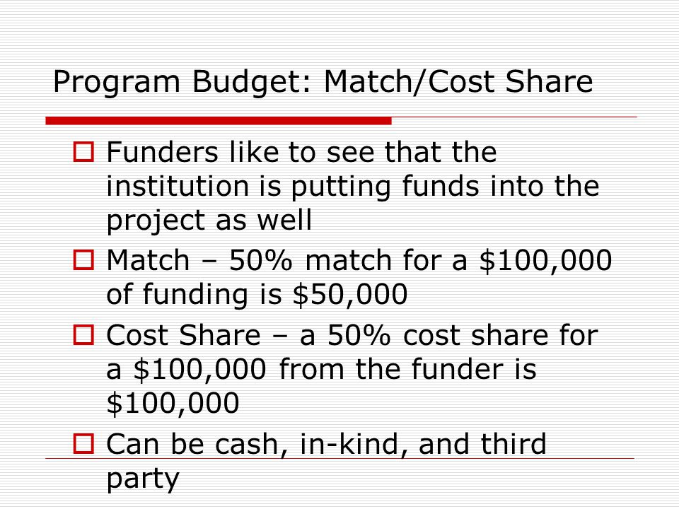Program Budget: Match/Cost Share