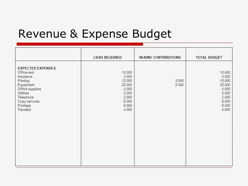 Revenue & Expense Budget