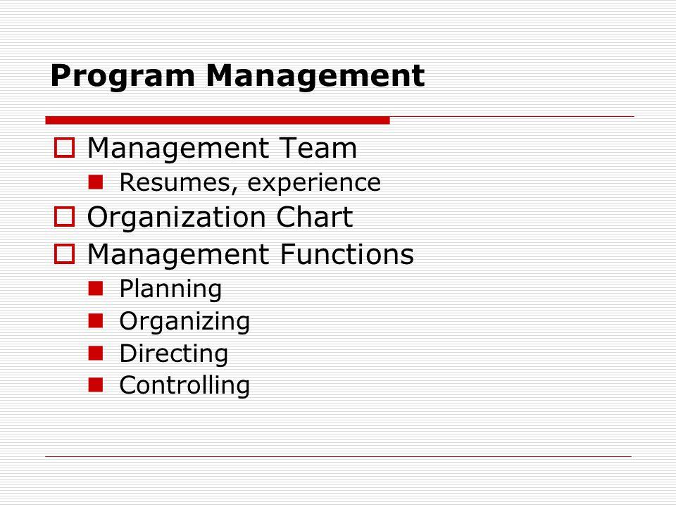 Program Management Management Team Organization Chart