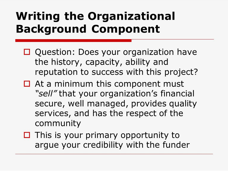 Writing the Organizational Background Component