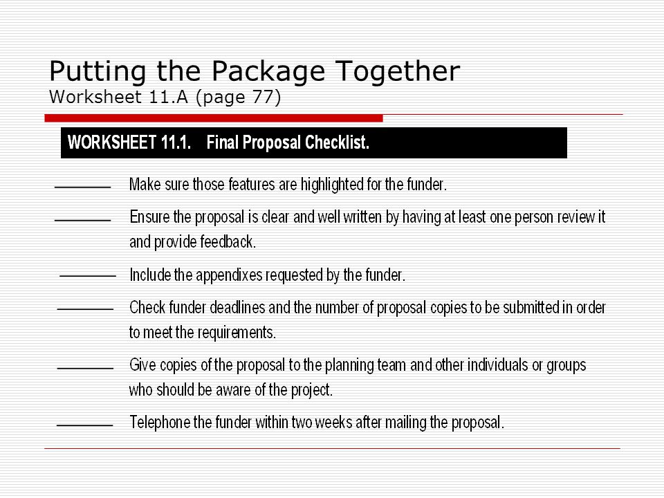 Putting the Package Together Worksheet 11.A (page 77)