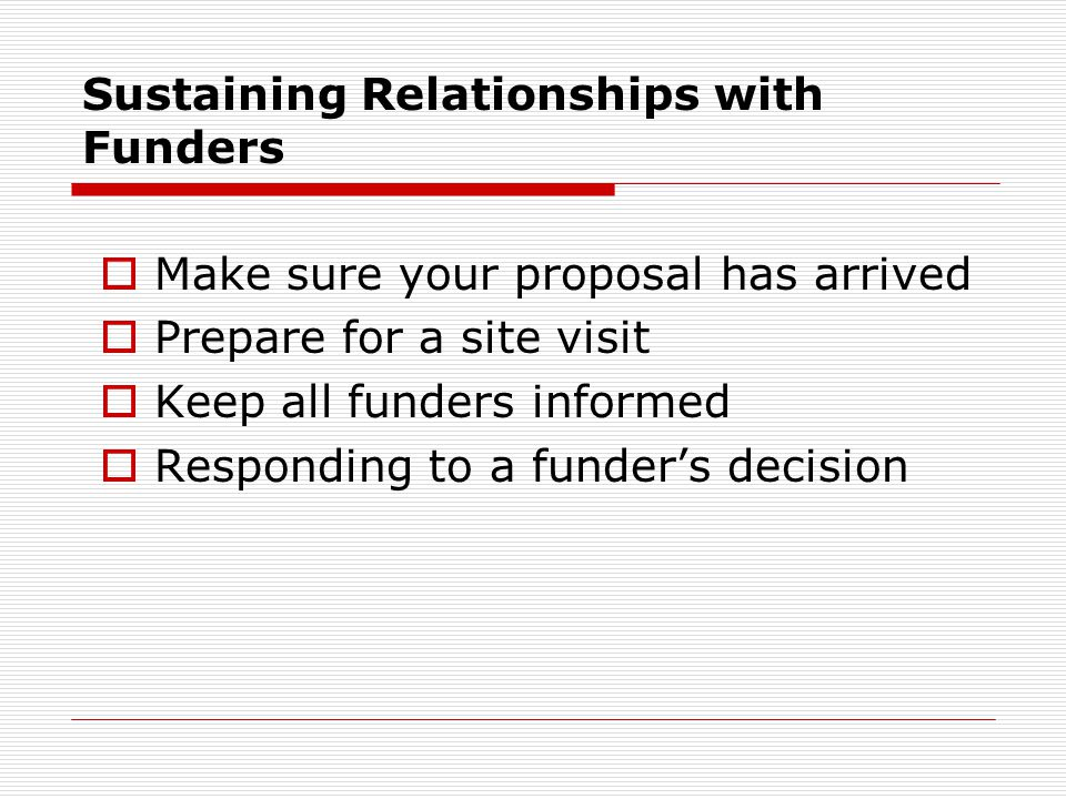 Sustaining Relationships with Funders