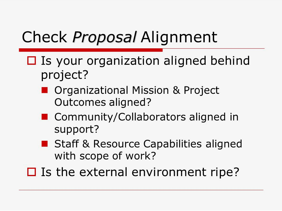Check Proposal Alignment