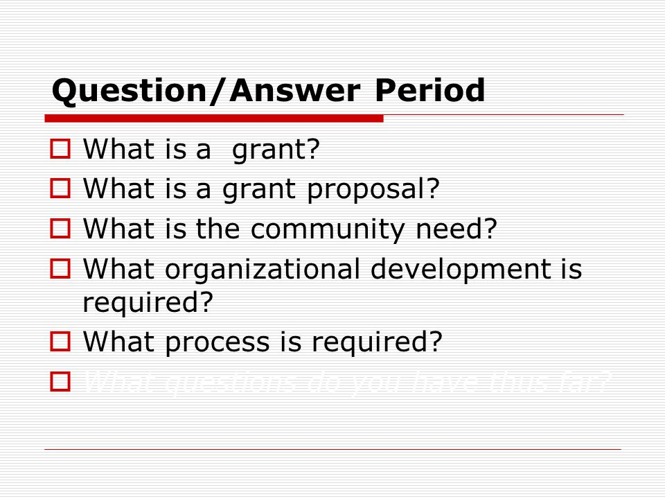 Question/Answer Period