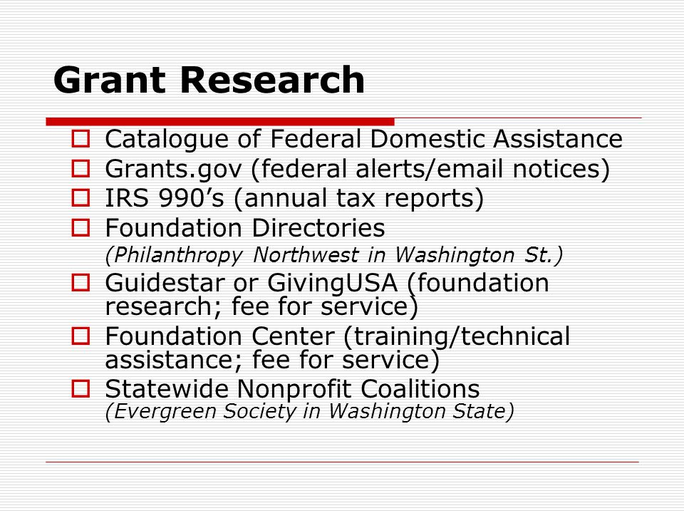 Grant Research Catalogue of Federal Domestic Assistance