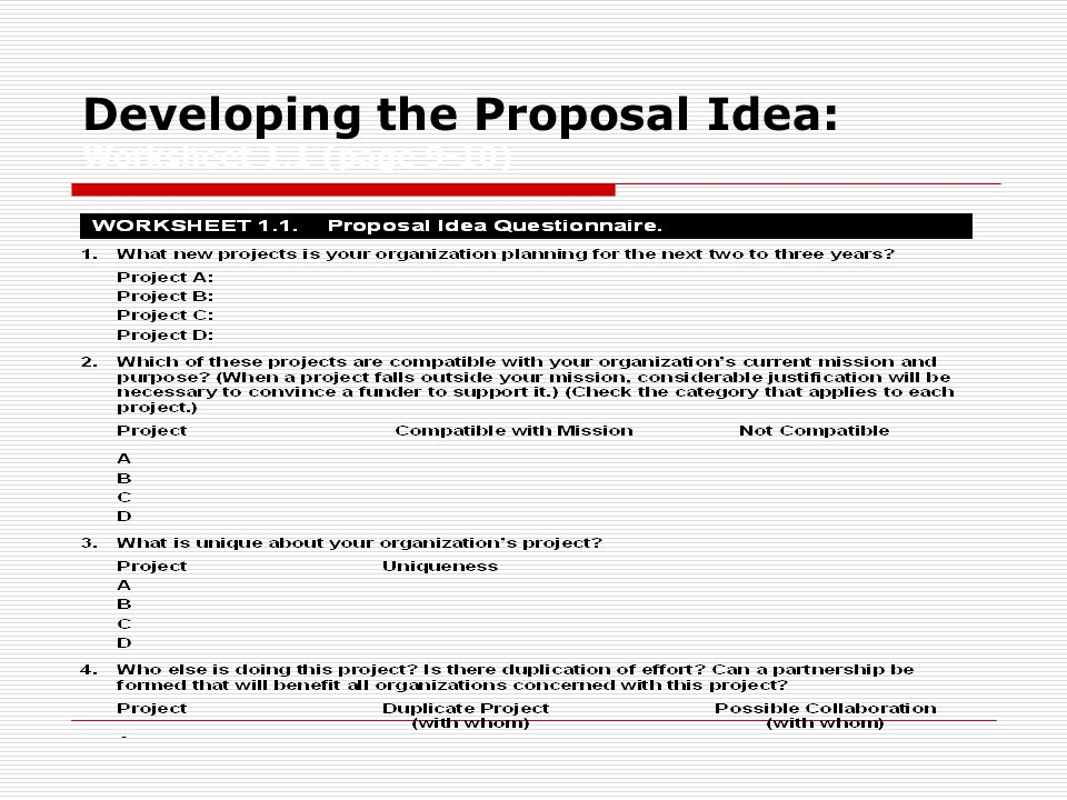 Developing the Proposal Idea: Worksheet 1.1 (page 9-10)