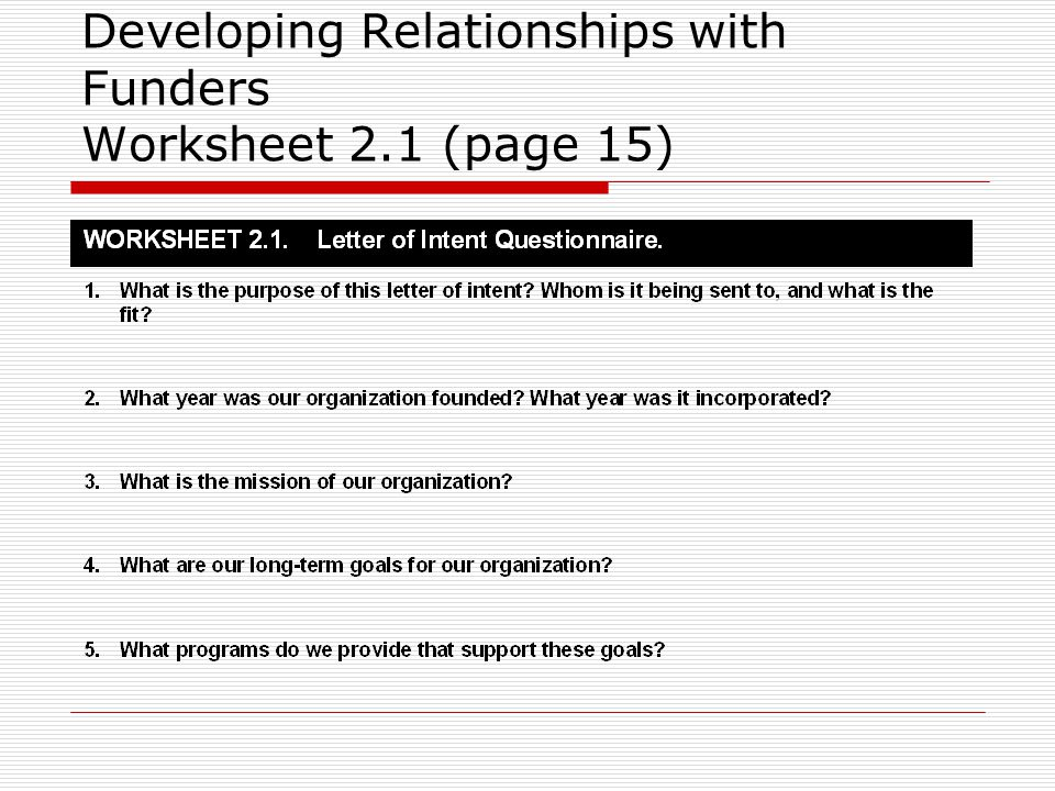 Developing Relationships with Funders Worksheet 2.1 (page 15)