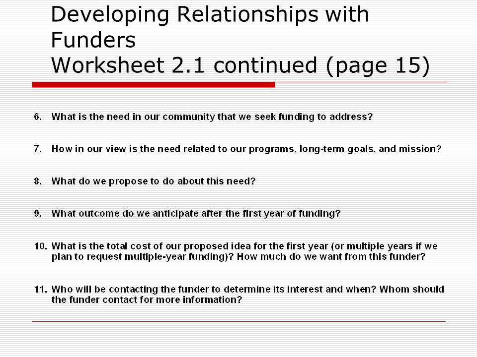 Developing Relationships with Funders Worksheet 2