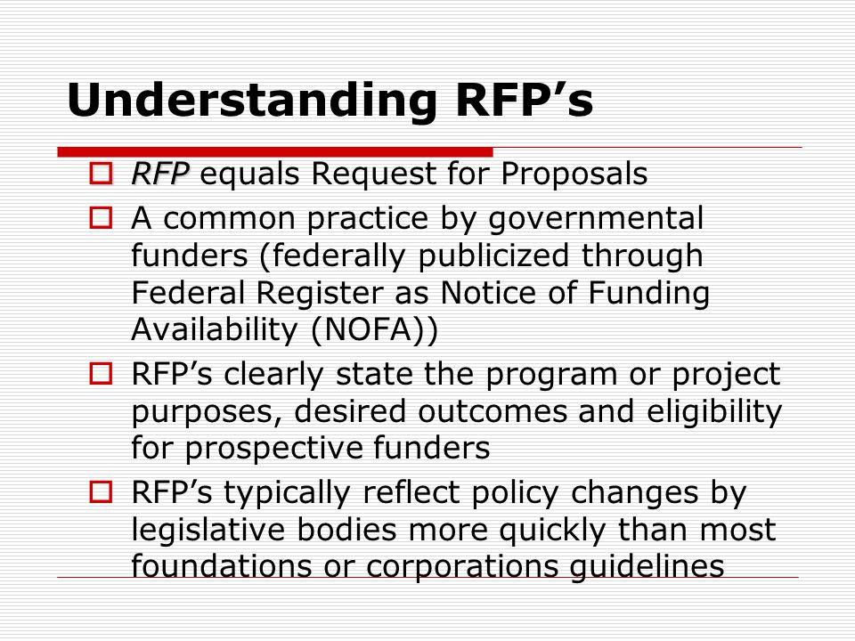 Understanding RFP's RFP equals Request for Proposals