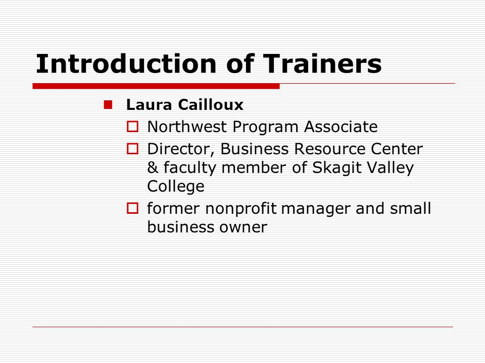 Introduction of Trainers
