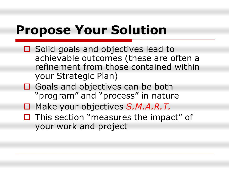 Propose Your Solution