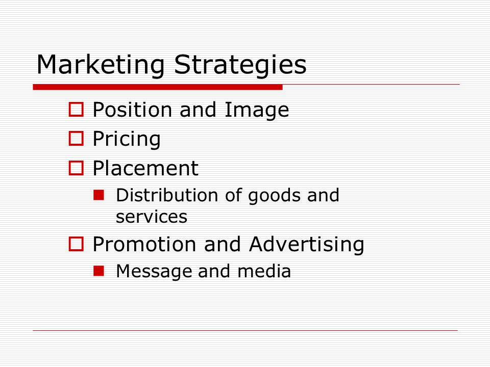Marketing Strategies Position and Image Pricing Placement