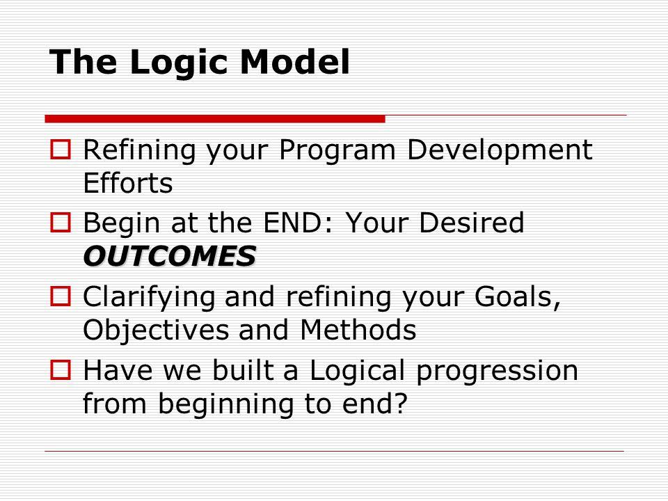 The Logic Model Refining your Program Development Efforts