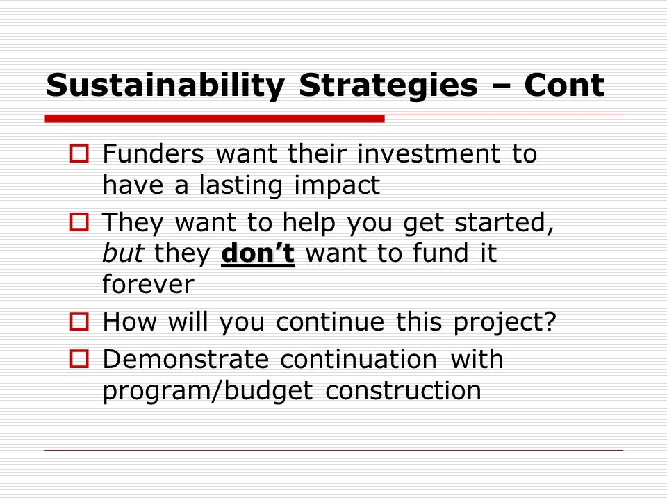 Sustainability Strategies – Cont