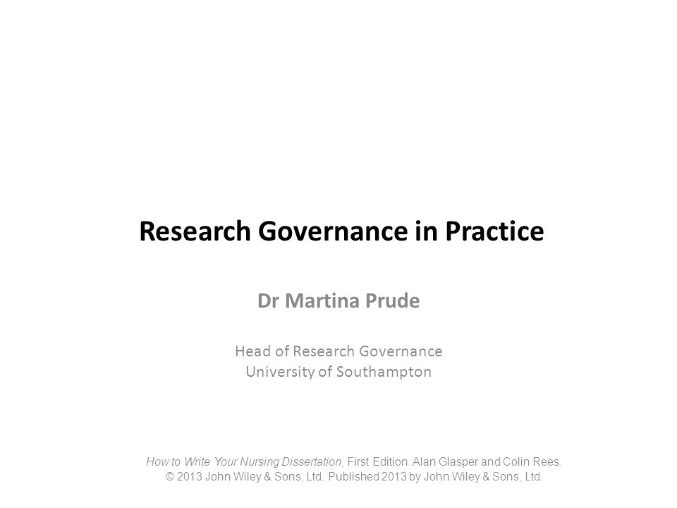 Research Governance in Practice
