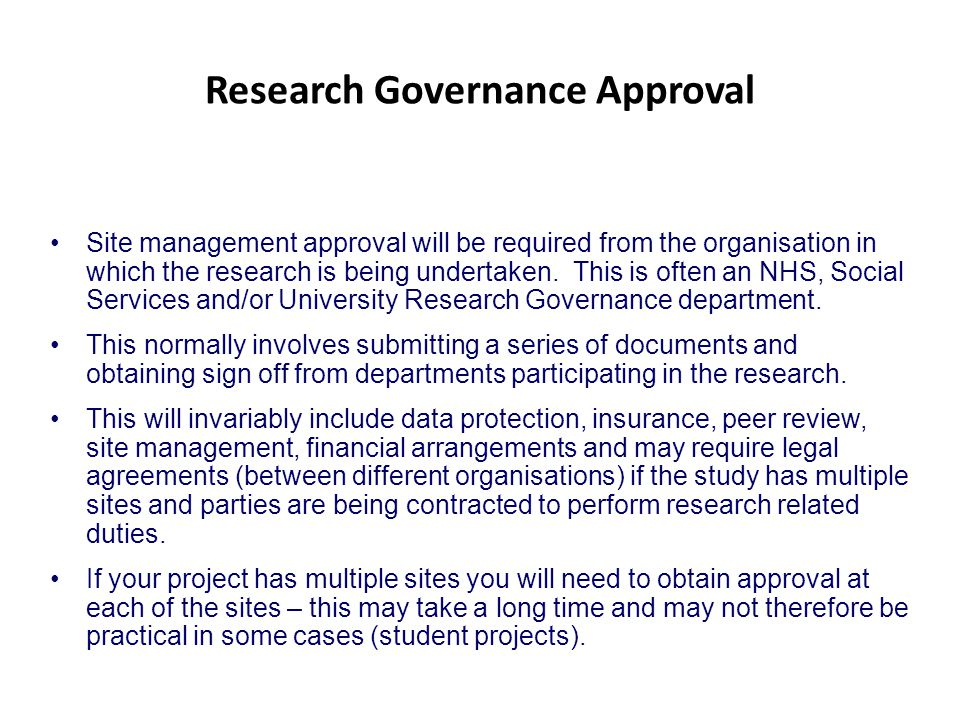 Research Governance Approval