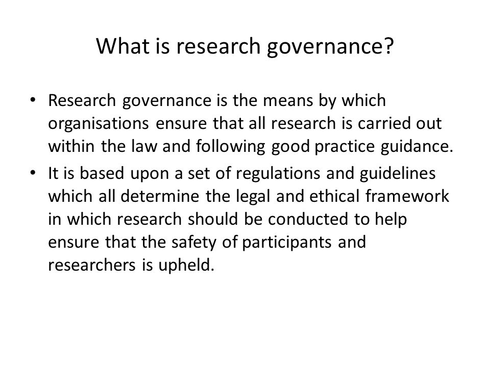 What is research governance
