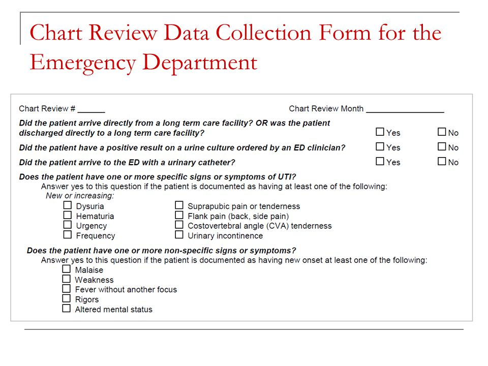 Chart Review Data Collection Form for the Emergency Department