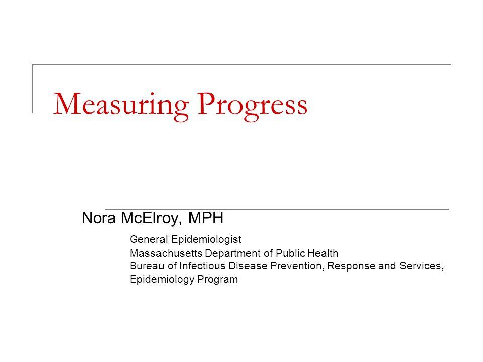 Measuring Progress Nora McElroy, MPH General Epidemiologist