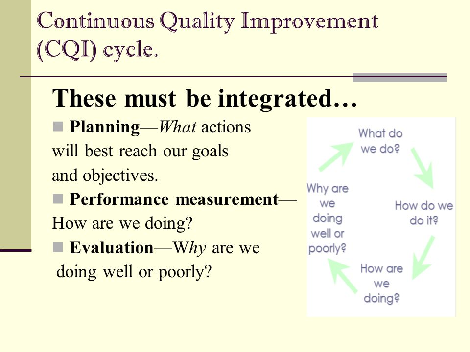 Continuous Quality Improvement (CQI) cycle.