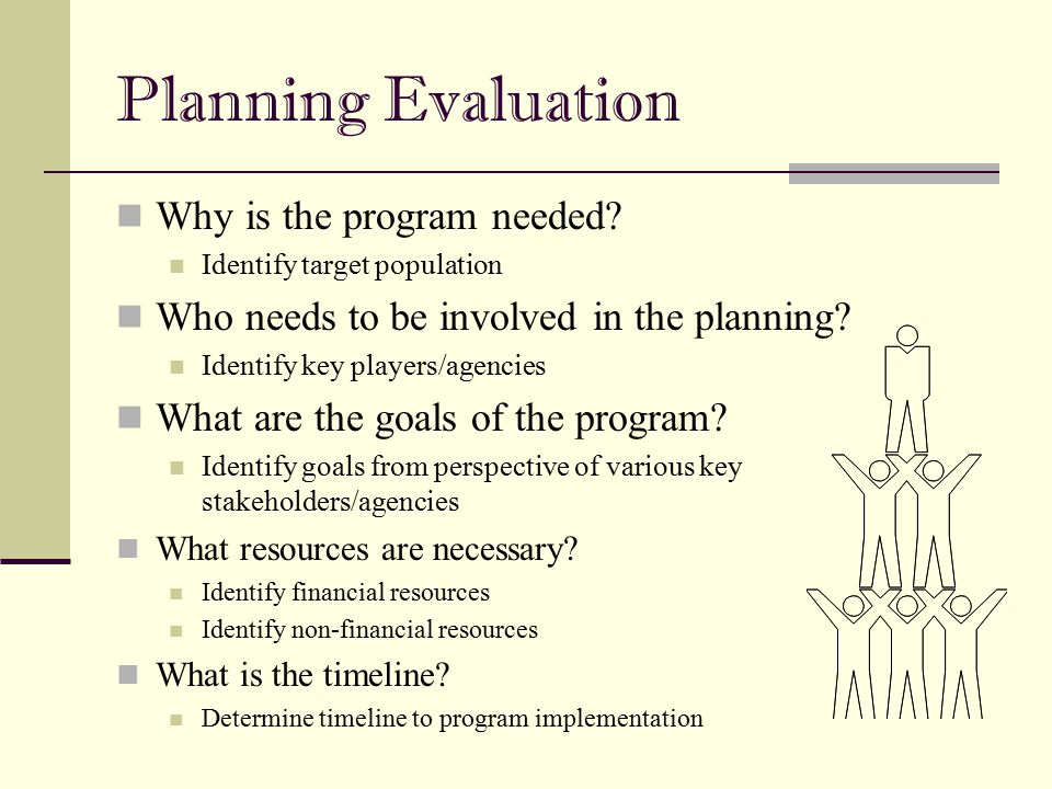 Planning Evaluation Why is the program needed