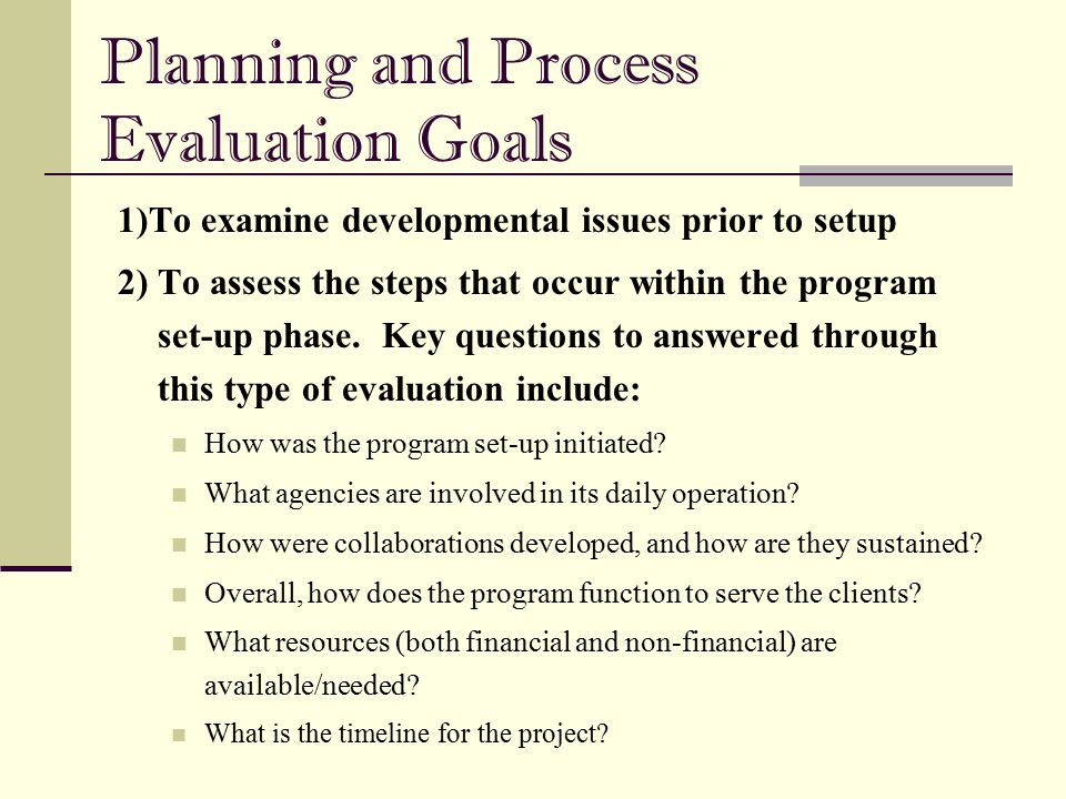 Planning and Process Evaluation Goals