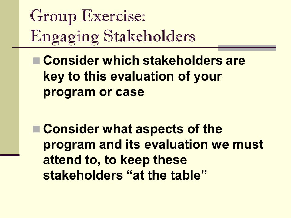 Group Exercise: Engaging Stakeholders