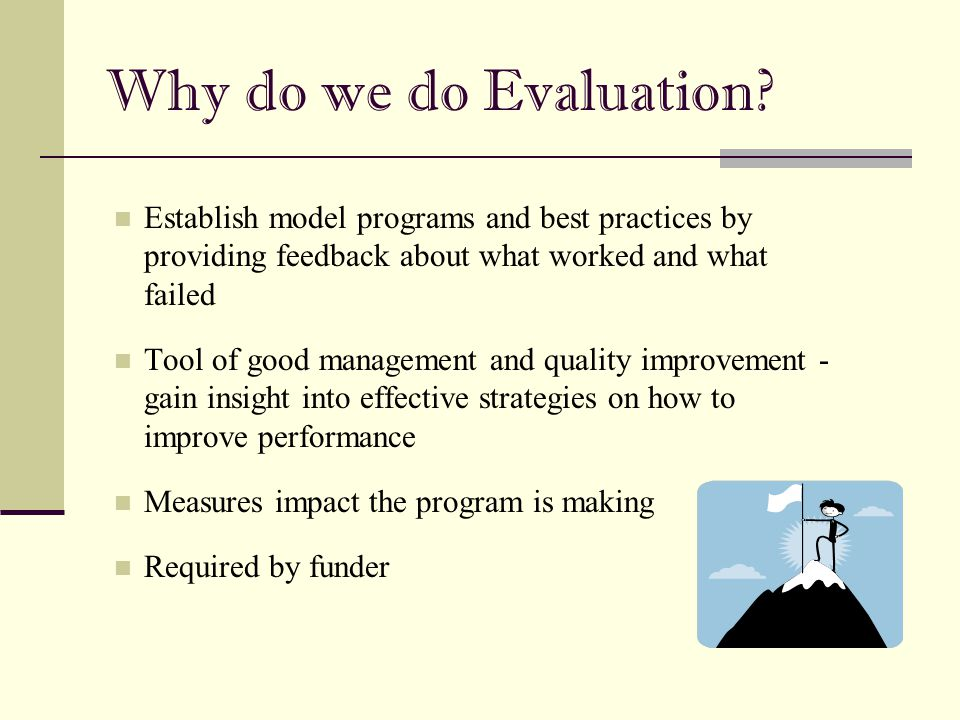 6/30/2005 Why do we do Evaluation Establish model programs and best practices by providing feedback about what worked and what failed.