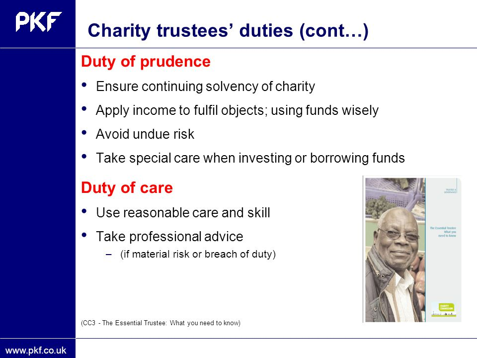 Charity trustees' duties (cont…)