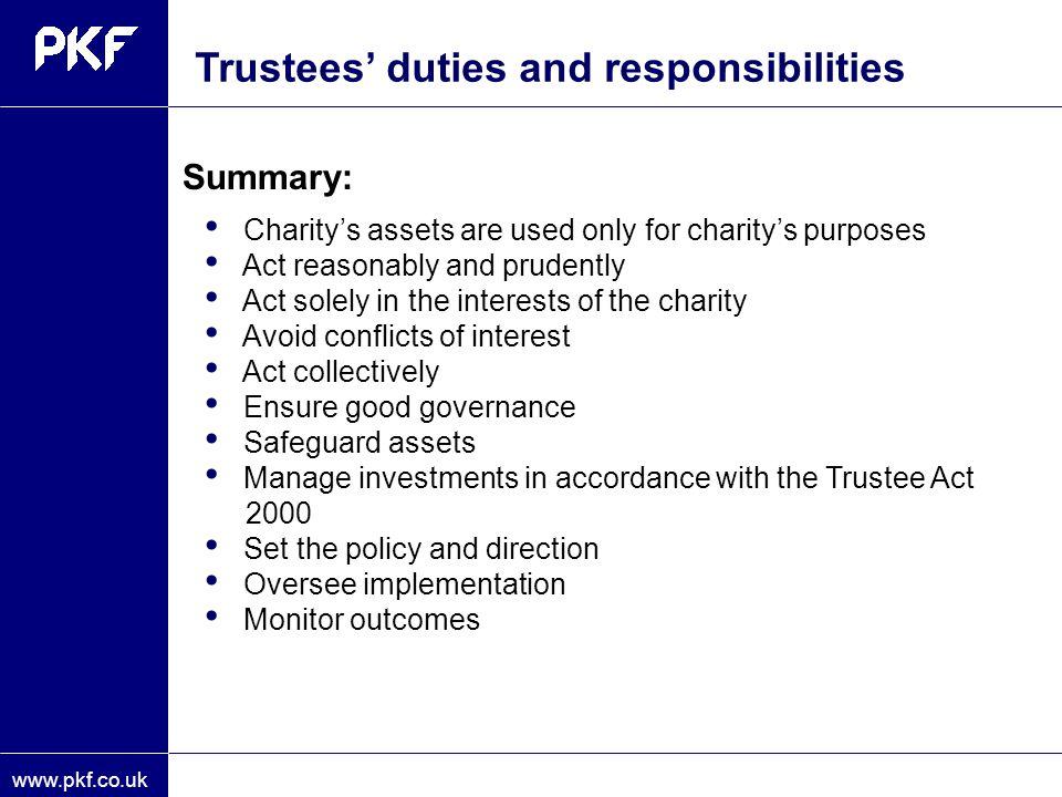 Trustees' duties and responsibilities