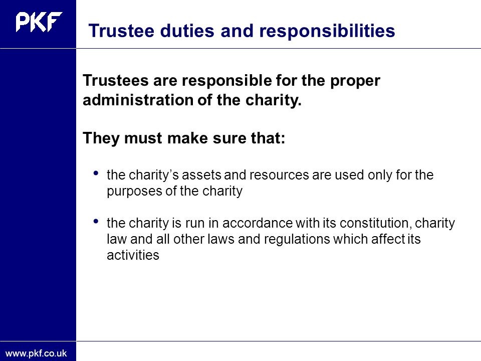 Trustee duties and responsibilities
