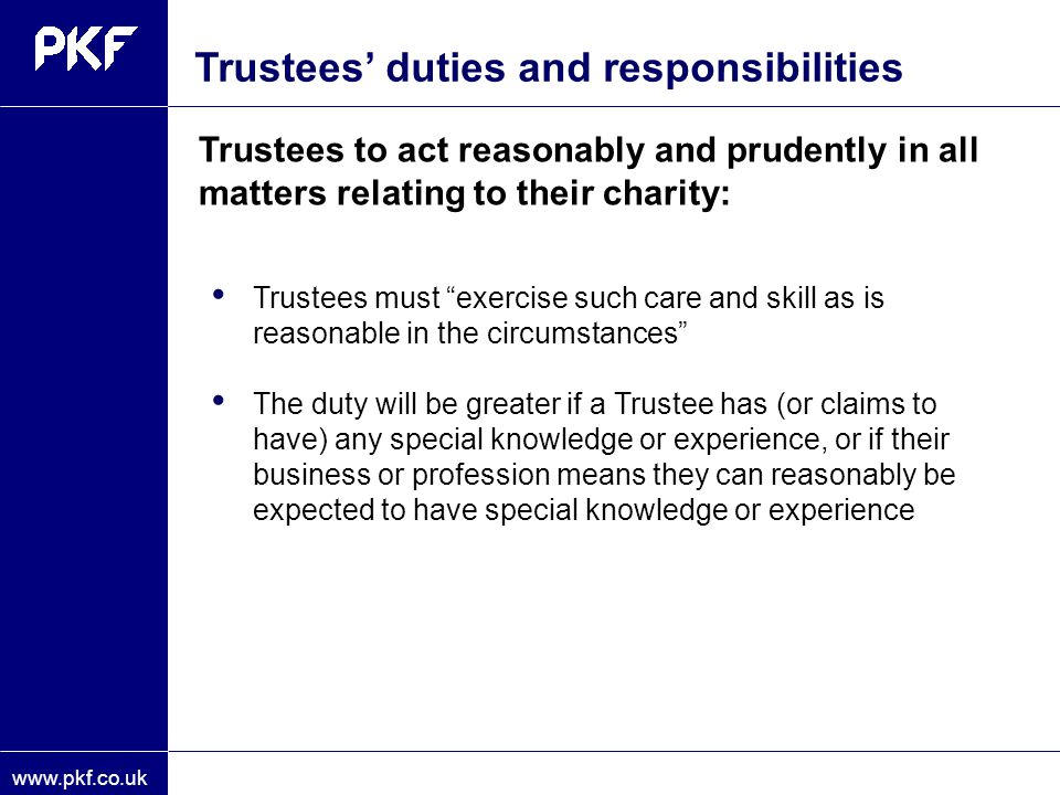 Trustees' duties and responsibilities