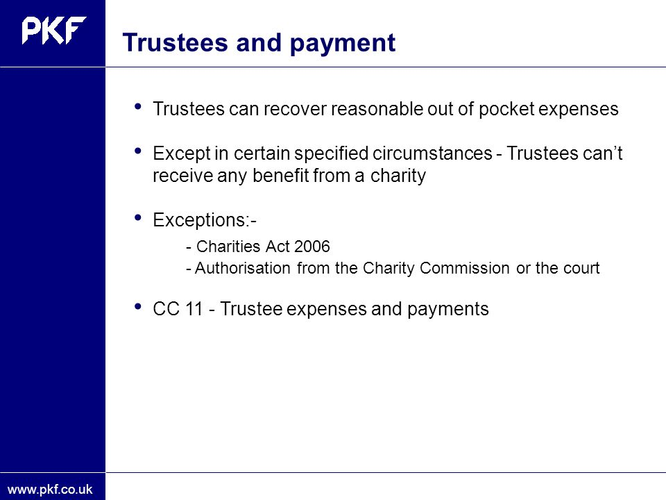 Trustees and payment - Charities Act 2006