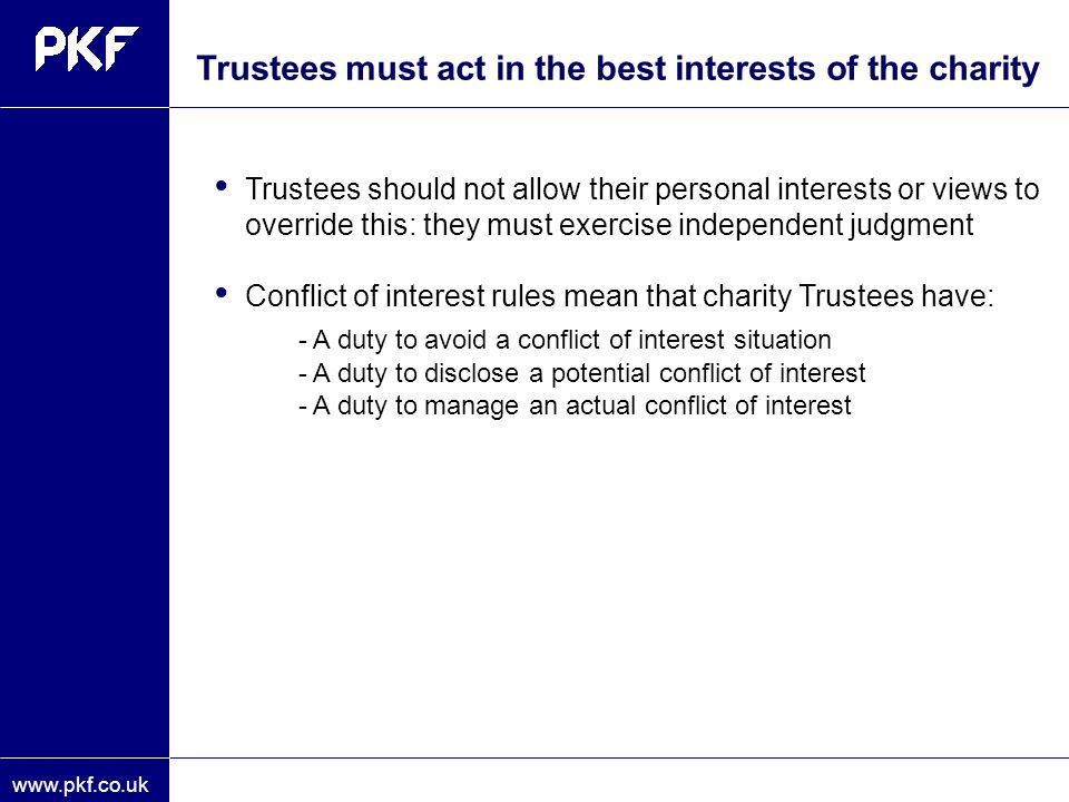 - A duty to avoid a conflict of interest situation