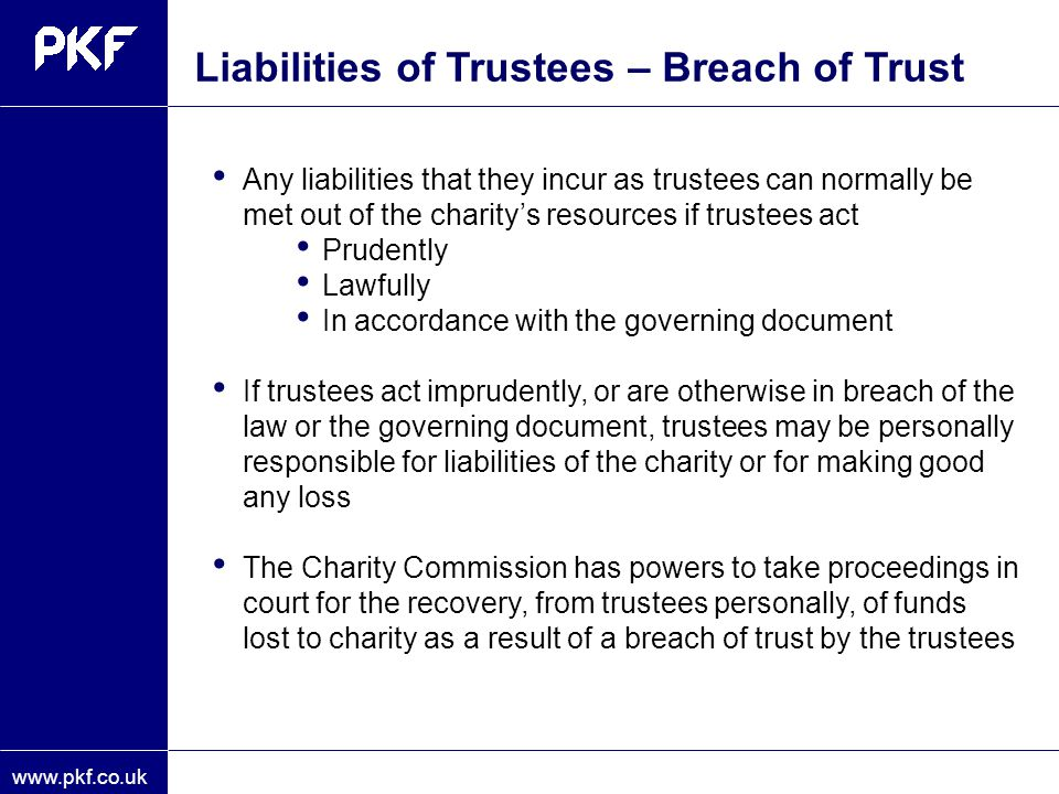Liabilities of Trustees – Breach of Trust