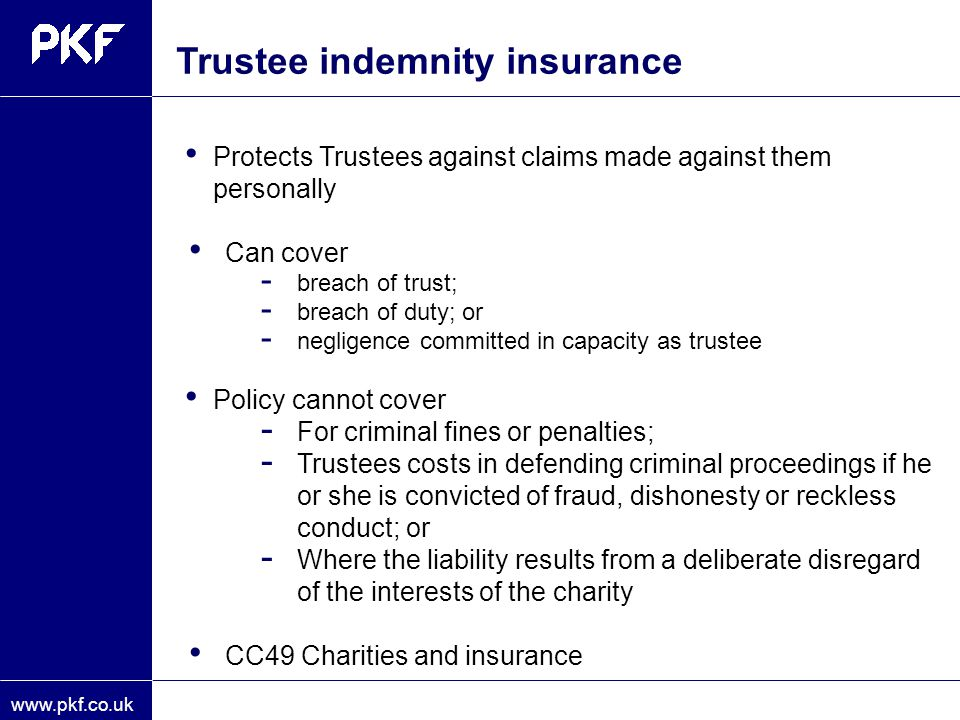 Trustee indemnity insurance