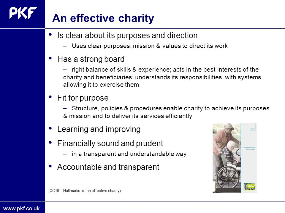 An effective charity Is clear about its purposes and direction