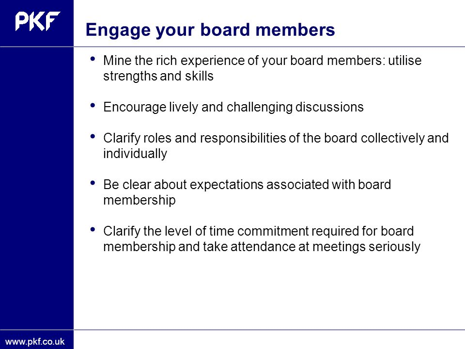 Engage your board members