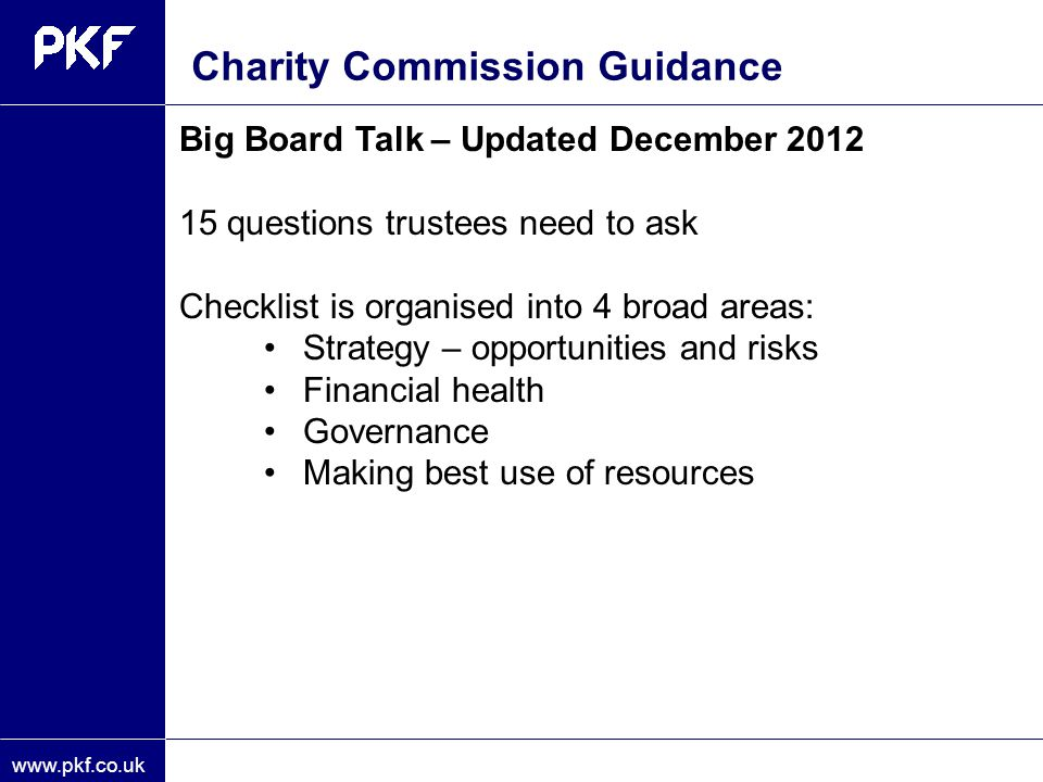 Charity Commission Guidance