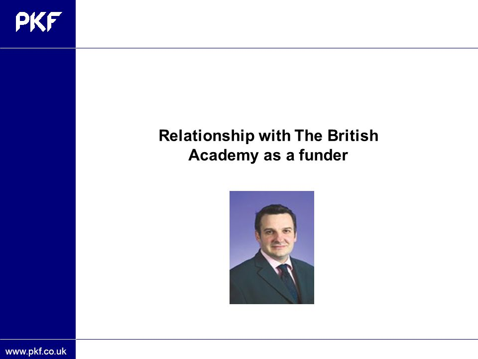 Relationship with The British Academy as a funder