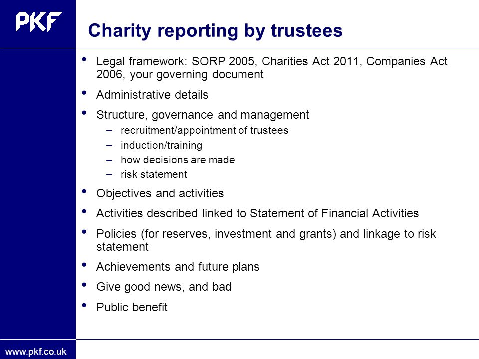 Charity reporting by trustees