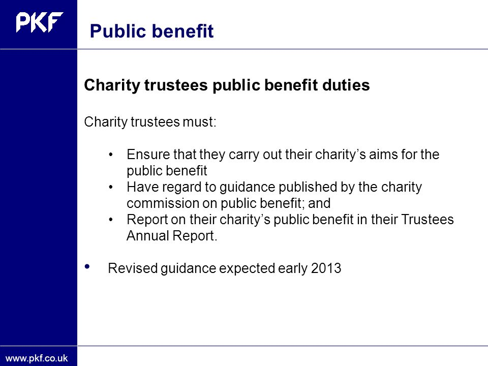 Public benefit Public benefit guidance