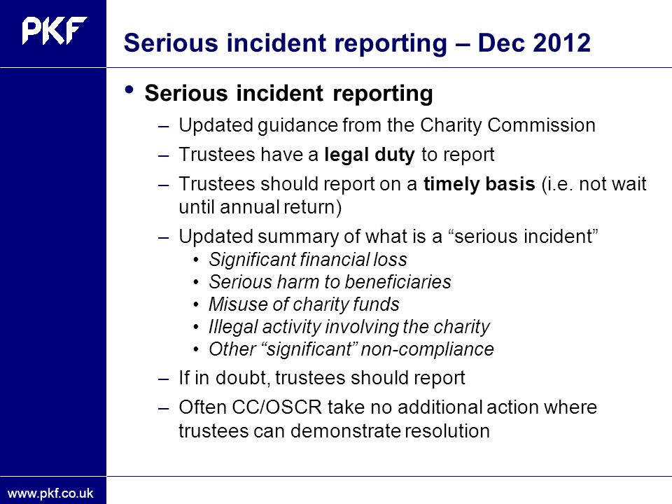 Serious incident reporting – Dec 2012